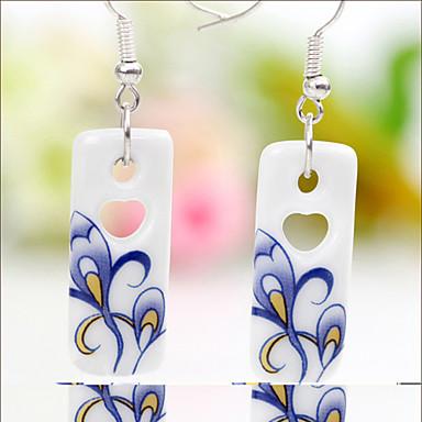 Ceramic Handmade Paste Flower Earrings(Pendant:1.1*2.7CM)