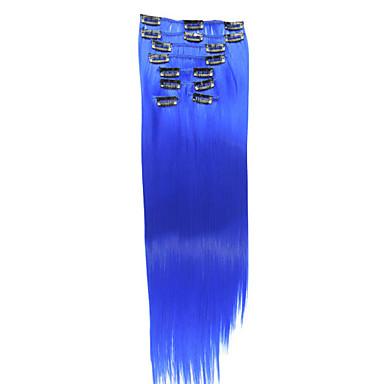 20 дюймы Длинные Искусственные волосы Наращивание волос Прямой Волнистый Классика Клип во / на 1шт Other Повседневные Высокое качество