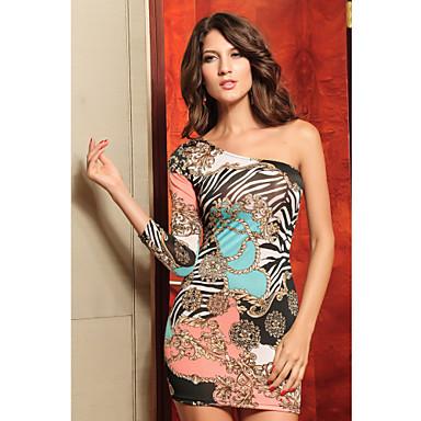 Stijlvolle One-shoulder Vrouwen Asymmetrisch Print Dress (Lengte: 68cm Buste :86-102cm Taille :58-79 Hip :90-104cm)