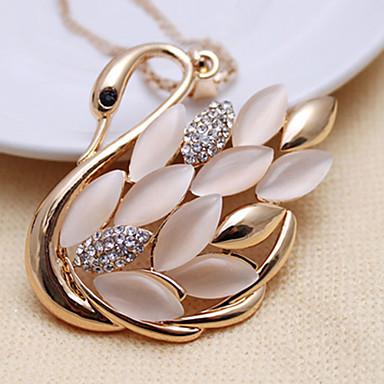 Women's Elegant Opal Swan Necklace