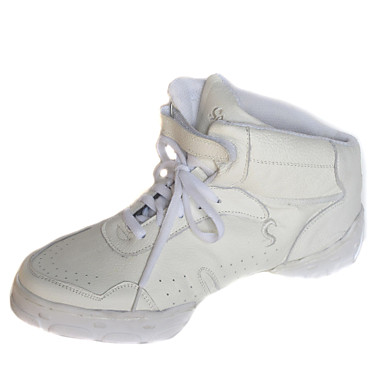 Men's Women's Dance Sneakers Leather Flat Flat Heel White Black Black White Non Customizable