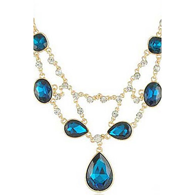 Women's Royal Blue Raindrops Gemstones Necklace