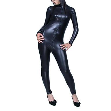 Shiny Zentai Kıyafetleri Ninja Zentai Cosplay Kostümleri Solid Kedikıyafeti Parlak Metalik Erkek Kadın's Cadılar Bayramı