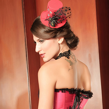 Red Tulle Special Occasion Women's Hat/Fascinators