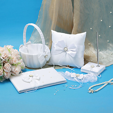 Wedding Collection Set in White Satin With Crystal and Pearl Accents (5 Pieces)