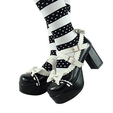 Handmade Preto 8 centímetros de couro PU sapatos bonecas de salto alto Lolita