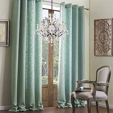 Rod Pocket Grommet Top Tab Top Double Pleat Two Panels Curtain Modern Solid Living Room Polyester/Cotton Blend Faux Linen Material