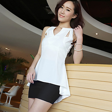 Women's High Low Sleeveless Top with Cutouts