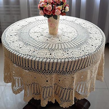 100% Baumwolle Kreisförmig Tischdecken Blumen Umweltfreundlich Tischdekorationen
