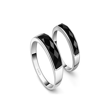 Gorgeous Platinum Plated Crystal Couples' Rings