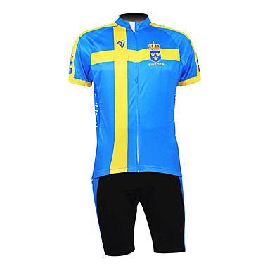 Kooplus Men's Half Sleeves Cycling Jersey with Shorts Bike Clothing Suits, Breathable