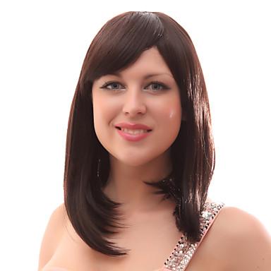 Synteettiset peruukit / Ihmisen hiukset Capless Peruukit Classic Kerroksittainen leikkaus Synteettiset hiukset Ruskea Peruukki Naisten Keskikokoinen Full Lace / Suora