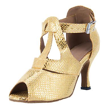 Pentru femei Pantofi Dans Latin / Sală Dans Imitație de Piele Călcâi Cataramă Toc Personalizat Personalizabili Pantofi de dans Auriu