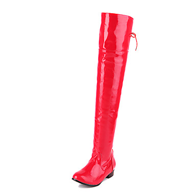 Amazing Patent Leather Flat Heel Over The Knee Boots Casual Shoes(More Colors)