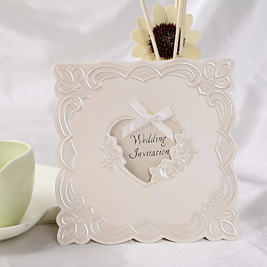 Wedding Invitation Classic Floral Embossed With Golden Bow(Set of 50)