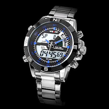WEIDE Men's Sport Watch / Wrist Watch Alarm / Calendar / date / day / Chronograph Stainless Steel Band Silver / Water Resistant / Water Proof / LCD / Dual Time Zones / Two Years / Maxell626+2025