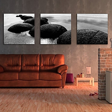 Peisaj Modern Tradițional, Trei Panouri Orizontal Imprimeu Decor de perete Pagina de decorare