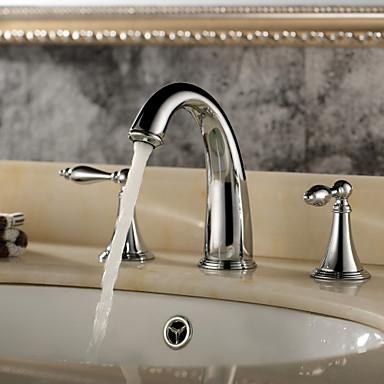 Μπάνιο βρύση νεροχύτη - Καταρράκτης Χρώμιο Αναμεικτικές με ξεχωριστές βαλβίδες Τρεις Οπές / Δύο λαβές τρεις οπές