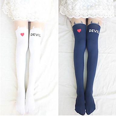 Ponožky a punčochy Sweet Lolita Lolita Lolita Dámské Bílá Černá Lolita Příslušenství Tisk Punčocháče Samet