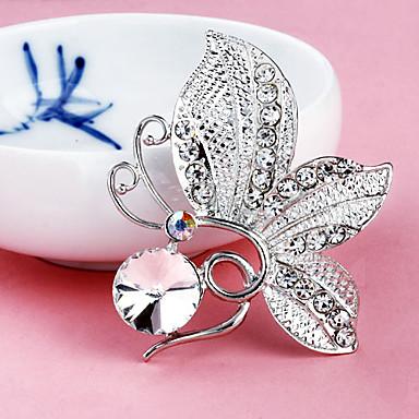 kvinders butterfly forsølvede rhinestone kugle broche