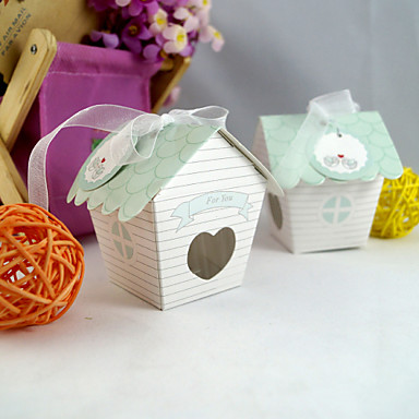 Cute House Cake Box with Ribbon (Set of 20)