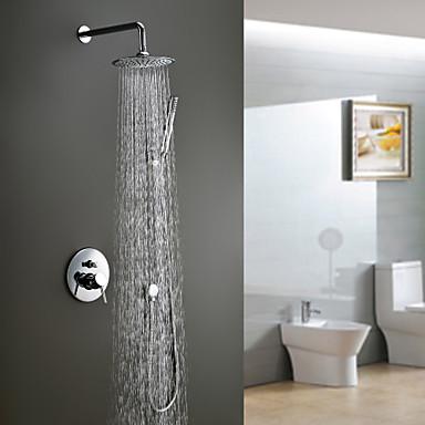 Çağdaş Duş Sistemi Yağmur Duşları El Duşu Dahil Seramik Vana Tek Kolu Dört Delik Krom, Duş Musluğu