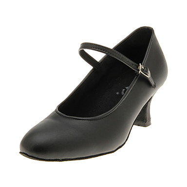 Women's Modern Ballroom Leatherette Heel Black Non Customizable