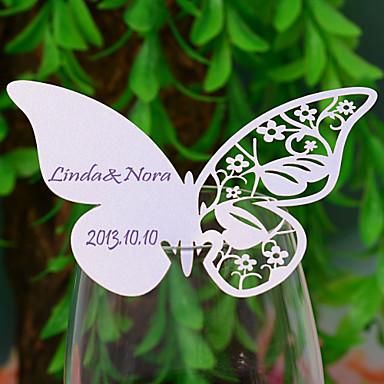 perlepapir sted kort 12 poly taske placecard indehavere bryllup reception