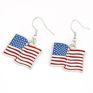 billige Moteøreringer-Flagg Billig Patriotiske smykker Personalisert Klassisk Mote øredobber Smykker Sølv Til Fest Daglig Avslappet