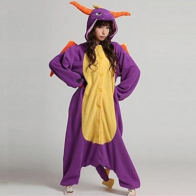 Kigurumi-Pyjamas Dinosaurier / Drachen Pyjamas-Einteiler Kostüm Korallenfleece Purpur Cosplay Für Erwachsene Tiernachtwäsche Karikatur