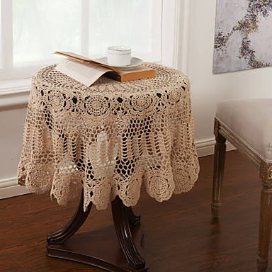 100% Baumwolle Kreisförmig Tischdecken Blumen Umweltfreundlich Tischdekorationen 1 pcs