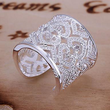 Pentru femei Inele Afirmatoare manşetă Ring Lux Design Unic Iubire de Mireasă Elegant Plastic Ștras Inimă Bijuterii Nuntă Petrecere