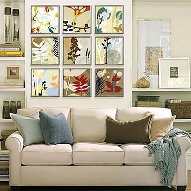 Gerahmtes Leinenbild Gerahmtes Set Blumenmuster/Botanisch Wandkunst, PVC Stoff Mit Feld Haus Dekoration Rand Kunst Wohnzimmer Kinderzimmer