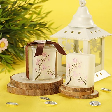 Floral Theme Candle Favors - 4 Candles Gift Box