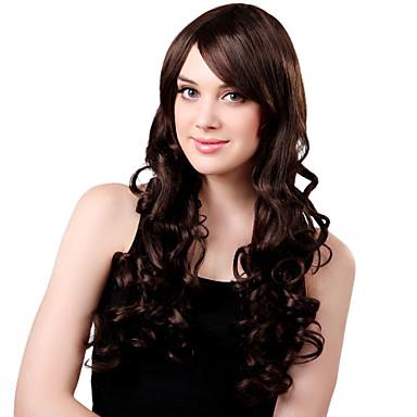 Capless Long Fluffy syntetické hnědé kudrnaté vlasy paruka Side Bang
