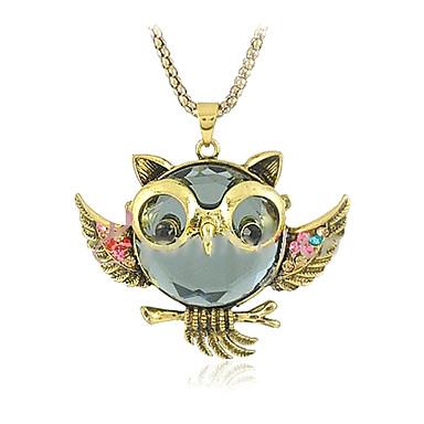 Damen Eule Diamantimitate Anhängerketten Vintage Halskette  -  Personalisiert Luxus Modisch Golden Modische Halsketten Für Alltag Normal