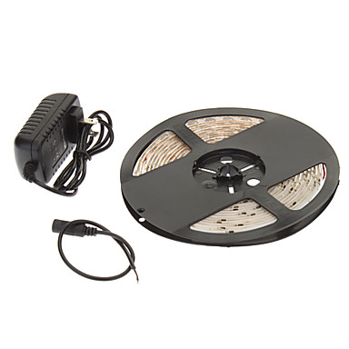 Impermeabil 5M 24W 60x3528SMD 900-1200LM 2800-3200K Warm White Light LED Strip Light cu 12V Adaptor 2A