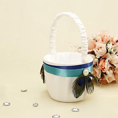 Flower Basket Wood Satin 3 1/2