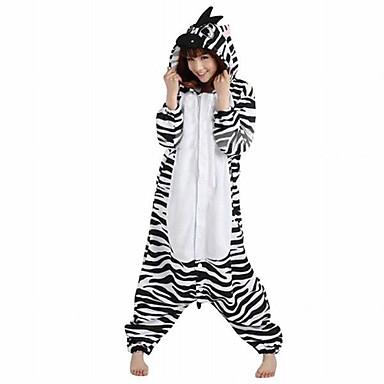 Pyžama Kigurumi Zebra Pyžamo Onesie Kostým polar fleece Černá/Bílá Cosplay Pro Animal Sleepwear Karikatura Halloween Festival / Svátek