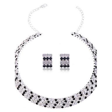 Kadın's Kristal Yapay Elmas Takı Seti Dahil etmek Kolczyki Kolyeler - Gelin Zarif Kristal Yapay Elmas alaşım Mücevher Takı Seti Vidali