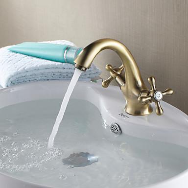 Traditionell Mittellage Keramisches Ventil Ein Loch Zwei Griffe Ein Loch Antikes Kupfer, Waschbecken Wasserhahn