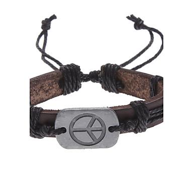 Herrn Leder Anderen Ketten- & Glieder-Armbänder Lederarmbänder ID Armband - Einzigartiges Design Modisch Friedenszeichen Braun Armbänder