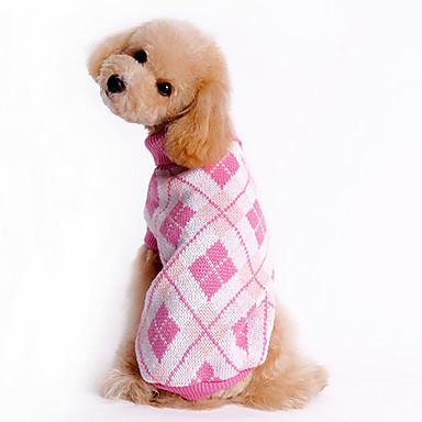 Câine Pulovere Îmbrăcăminte Câini Tartan/Carouri Albastru Roz Costume Pentru animale de companie