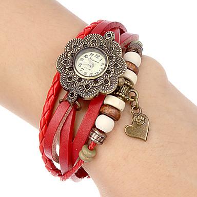 Dame ' Modni sat Ručni satovi s mehanizmom za navijanje Narukvica Pogledajte Kvarc Grupa Vintage Heart Shape Cvijet Boemski stilCrna