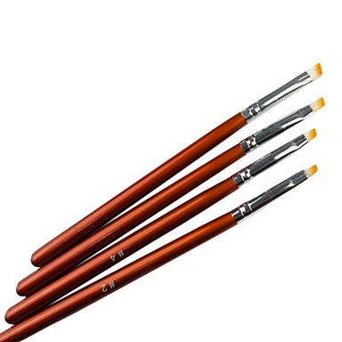 4PCS Brown Handle Acrylic Nail Art Pen Brush