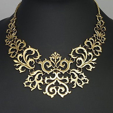 Women's Statement Necklace Flower Ladies Vintage European Silver Golden Necklace Jewelry For Party Anniversary Birthday Congratulations Thank You Gift