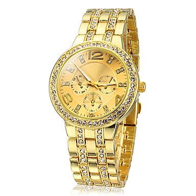 Kadın's Quartz Moda Saat imitasyon Pırlanta Paslanmaz Çelik Bant Işıltılı Altın Rengi