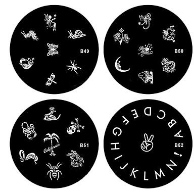 nail art ștampilare Placă Floare / Clasic / Desen animat Încântător Zilnic / Punk / MetalPistol
