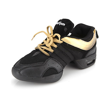 Men's Women's Dance Sneakers Leather Flat Sneaker Lace-up Flat Heel Black and Gold Non Customizable