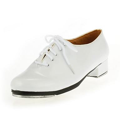 Men's Women's Tap Ballroom Patent Leather Flat Flat Heel White Black
